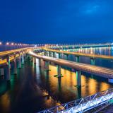 illuminated Xinghai Bay cross-sea bridge of Dalian,China.