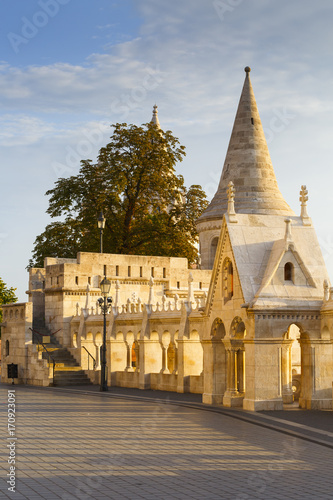 Morning view of Fisherman's Bastion in historic city centre of Buda, Hungary Poster