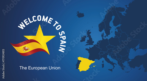 Welcome to Spain EU map banner logo icon