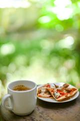 Breakfast in garden at morning time