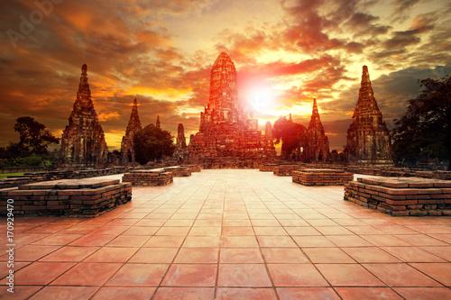 Fotobehang Thailand wat chai wattanaram most popular traveling destination in ayutthaya world heritage site in thailand