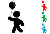 Icono plano niño con globo varios colores - 170931270