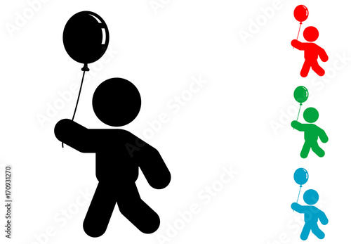 Icono plano niño con globo varios colores