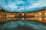 Reflection of Place De La Bourse and tramway in Bordeaux, France. A Unesco World Heritage