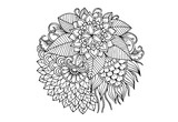 Floral mandala in black and white