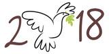2018 - carte de vœux - colombe de la paix - symbole - fraternité - solidarité - 170932056