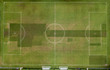 Aerial view of empty soccer field in Europe