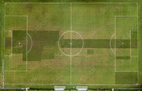 Aerial view of empty soccer field in Europe Poster