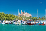 View of Palma de Mallorca with Cathedral La Seu and the fishing port - 5901