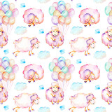 Seamless pattern with watercolor cute pink sheeps, air balloons and clouds illustrations, hand drawn isolated on a white background
