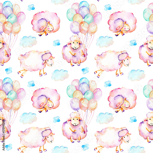 Seamless pattern with watercolor cute pink sheeps, air balloons and clouds illustrations, hand drawn isolated on a white background - 170941283