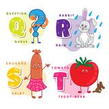 Alphabet Children Colored letter Q R S T