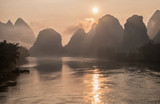 Li river in mist at sunrise. Yangshuo, China. - 170943465
