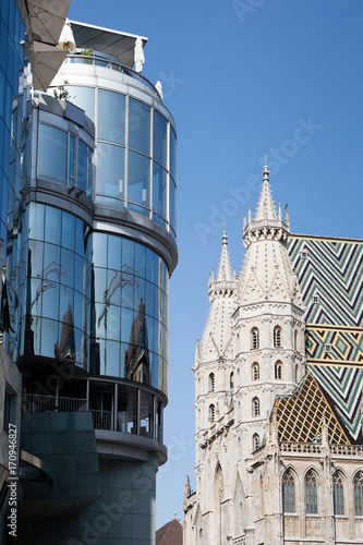 Old vs modern in Vienna, Austria