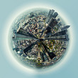 Little planet 360 degree sphere. Frankfurt am Main city, Germany