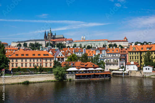 View on the Vltava river and St Poster