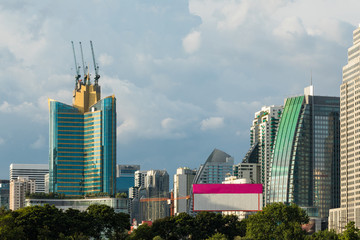 Modern architecture, Cityscape with Blue sky and clouds. Business area