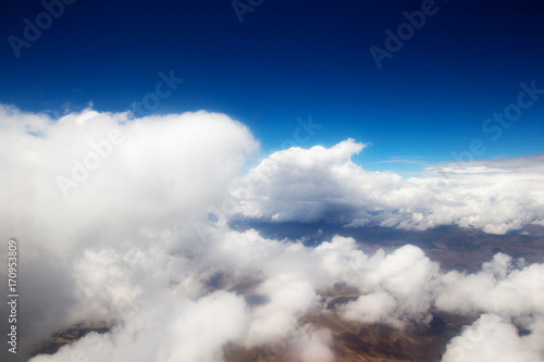 Aerial View - Clouds over Andes Mountains in Cusco, Peru