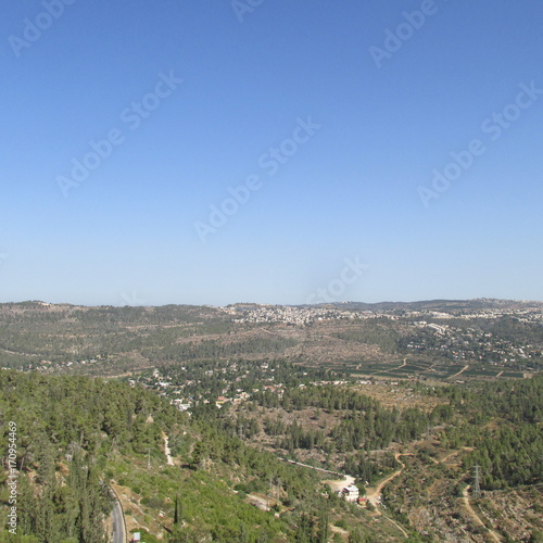 Plexiglas Khaki Jerusalem in the distance