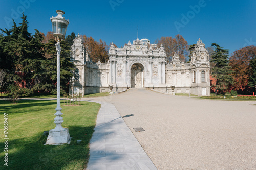 Exterior shot of Gate of The Sultan at Dolmabahce Palace Poster