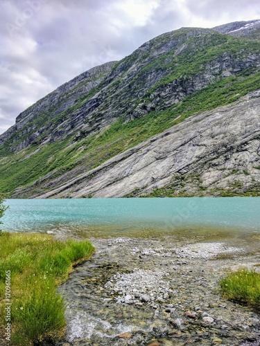 Fotobehang Bergrivier glacier lake