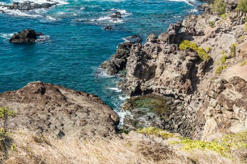 Fotobehang Groen blauw Rocky Maui Shoreline 6