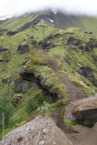 Fotobehang Bergrivier trek de landmannalaugar, islande