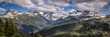 Panorama of mountains from Whistler Mountain, British Columbia, Canada
