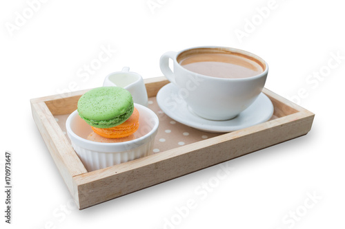 Papiers peints Cafe hot coffee breakfast set with fresh macaroon isolated in white background