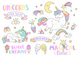 Set of unicorns and different fairy tales elements with some lettering. Vector illustration. - 170973813