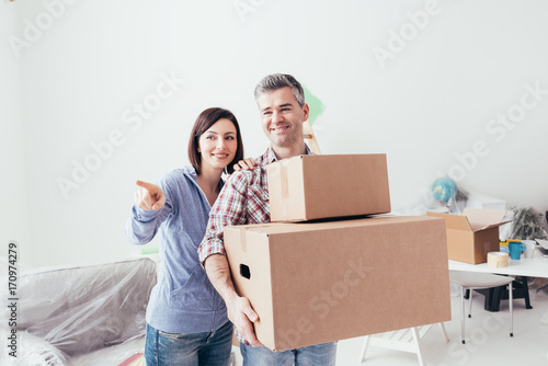 Couple moving into a new house