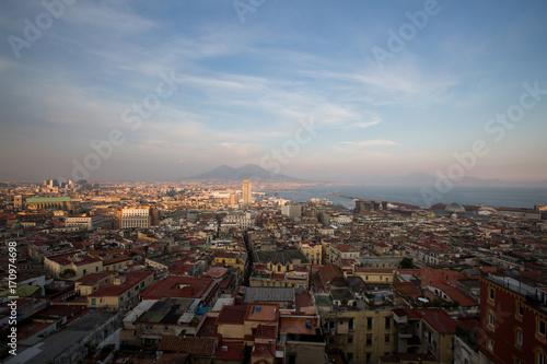 Papiers peints Naples panorama di napoli con vesuvio e porto