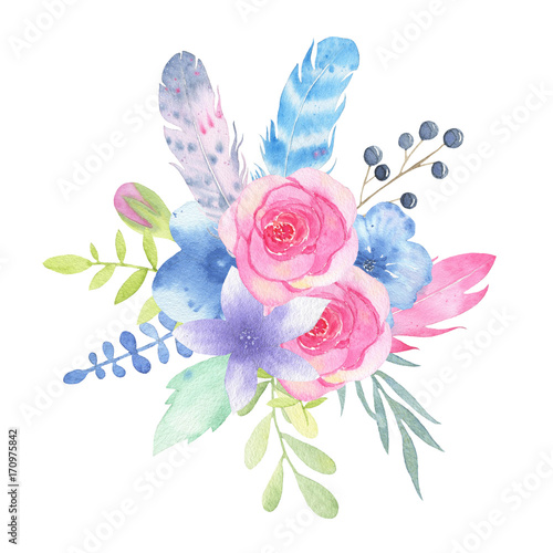 Watercolor hand painted flower wedding bouquet and leaves isolated on white background - 170975842