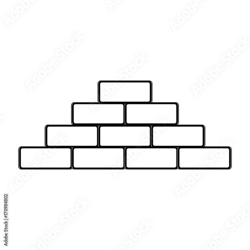 bricks icon over white background vector illustration
