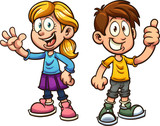 Cute cartoon boy and girl. Vector clip art illustration with simple gradients. Each on a separate layer.