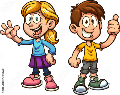 Cute cartoon boy and girl. Vector clip art illustration with simple gradients. Each on a separate layer. - 170991035