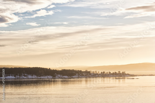 View of oslofjord on a cold winter day Poster
