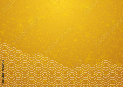 Print青海波と金箔 和柄
