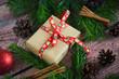 Christmas gift box, fir-tree branches, decoration, bump, cinnamon