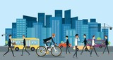 flat businessman biking on the road  go to work in urban with business people and  energy saving concept