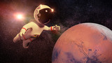 cartoon astronaut character in white space suit in orbit of planet Mars - 171018618