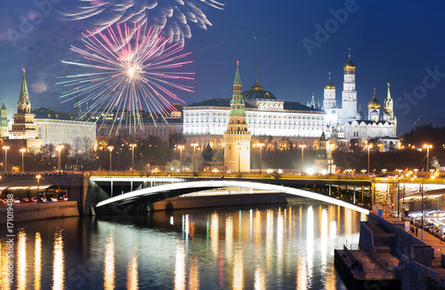 Fotobehang Moskou Fireworks over Moscow, Russia