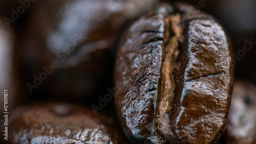 Aluminium Koffiebonen Macro of coffee beans