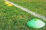 Soccer (football) training cones on the green field