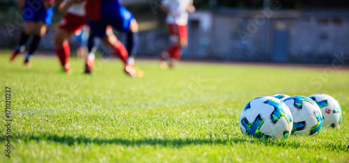 Soccer (football) balls on the soccer  field