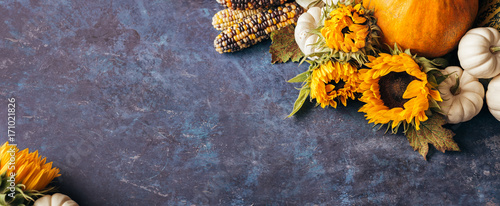 Autumn background with festive decoration and copyspace.