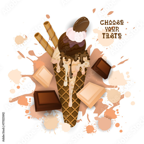 Ice Cream Chocolate Cone Colorful Dessert Icon Choose Your Taste Cafe Poster Vector Illustration - 171025842