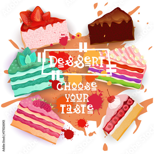 Cakes Set Colorful Desserts Collection Choose Your Taste Cafe Poster Vector Illustration - 171026043