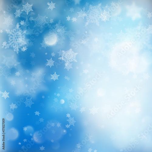 Fallen defocused snowflakes blured template. EPS 10 vector