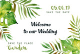 Watercolor greeting card with tropical leaves. Can be used for invitations, greeting cards. - 171028663
